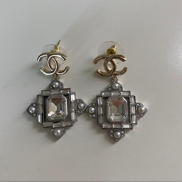 Chanel Crystal Drop Earrings